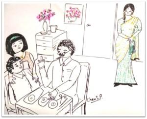 depicting the scene