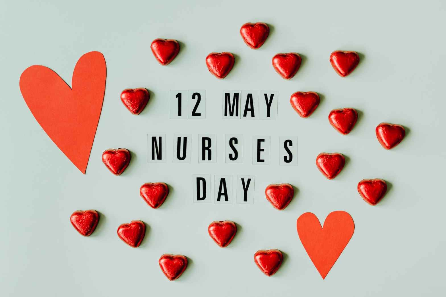 nurses day sign with hearts